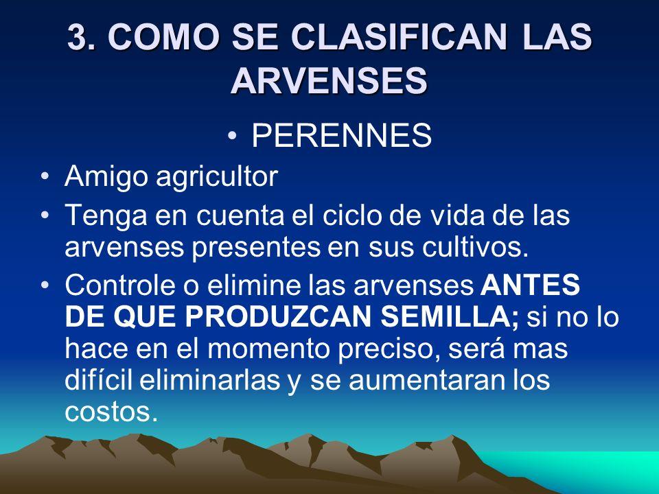 3. COMO SE CLASIFICAN LAS ARVENSES PERENNES Amigo agricultor Tenga en cuenta el ciclo de vida de las arvenses presentes en sus cultivos. Controle o el