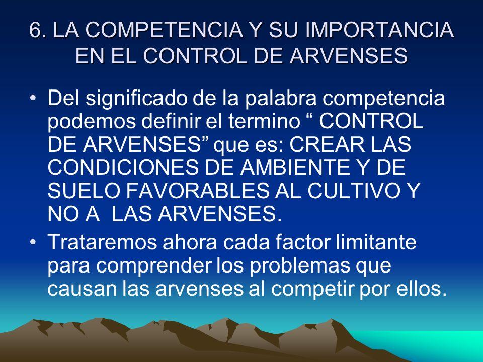 6. LA COMPETENCIA Y SU IMPORTANCIA EN EL CONTROL DE ARVENSES Del significado de la palabra competencia podemos definir el termino CONTROL DE ARVENSES