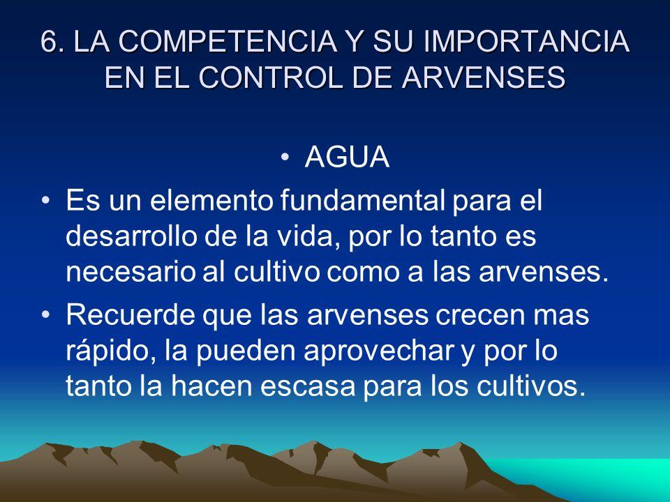 6. LA COMPETENCIA Y SU IMPORTANCIA EN EL CONTROL DE ARVENSES AGUA Es un elemento fundamental para el desarrollo de la vida, por lo tanto es necesario