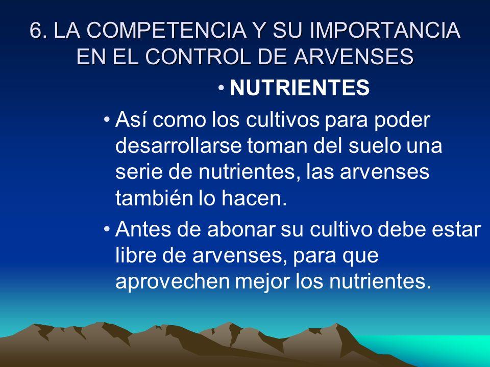 6. LA COMPETENCIA Y SU IMPORTANCIA EN EL CONTROL DE ARVENSES NUTRIENTES Así como los cultivos para poder desarrollarse toman del suelo una serie de nu