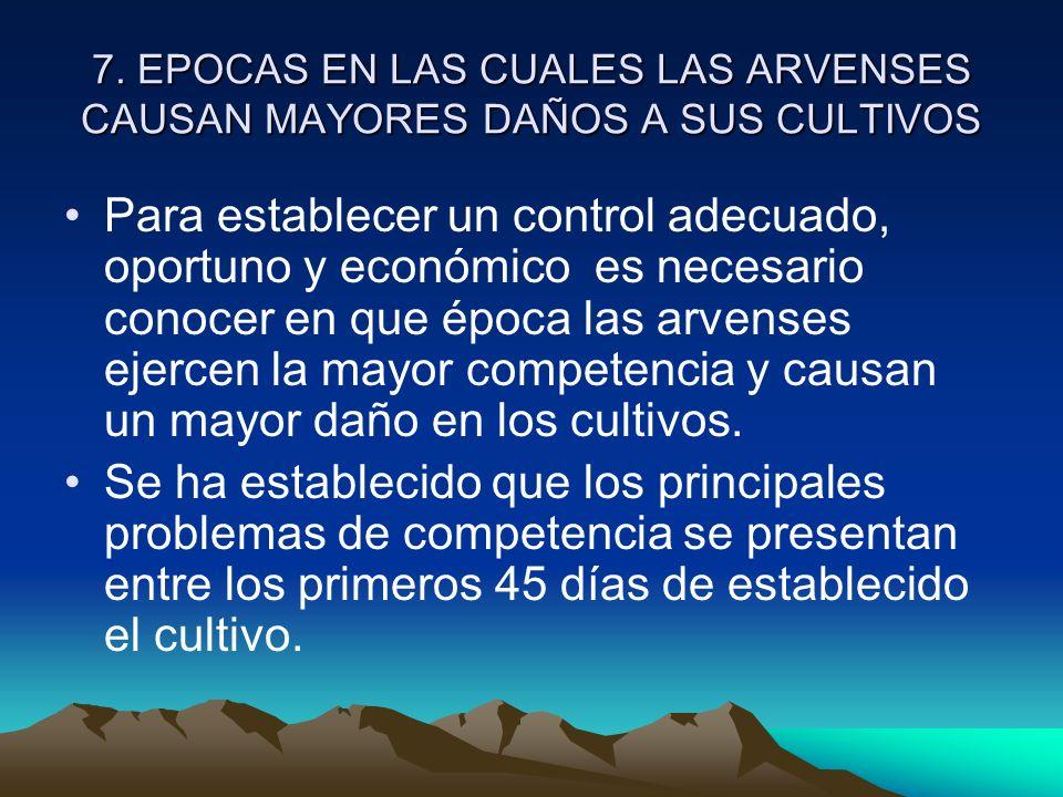 7. EPOCAS EN LAS CUALES LAS ARVENSES CAUSAN MAYORES DAÑOS A SUS CULTIVOS Para establecer un control adecuado, oportuno y económico es necesario conoce