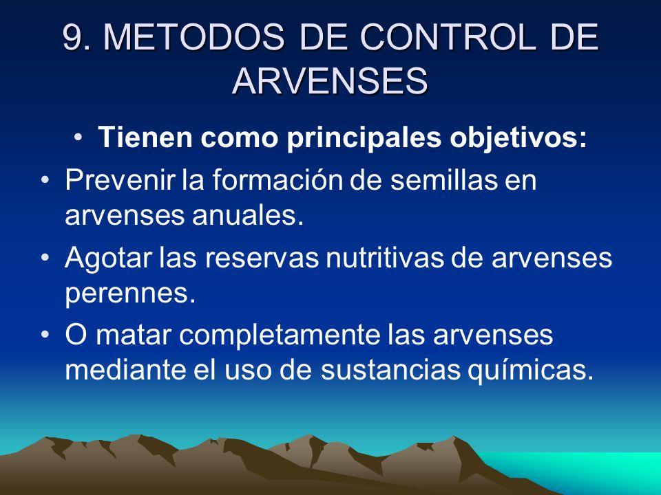 9. METODOS DE CONTROL DE ARVENSES Tienen como principales objetivos: Prevenir la formación de semillas en arvenses anuales. Agotar las reservas nutrit