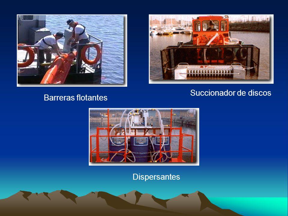 Barreras flotantes Dispersantes Succionador de discos