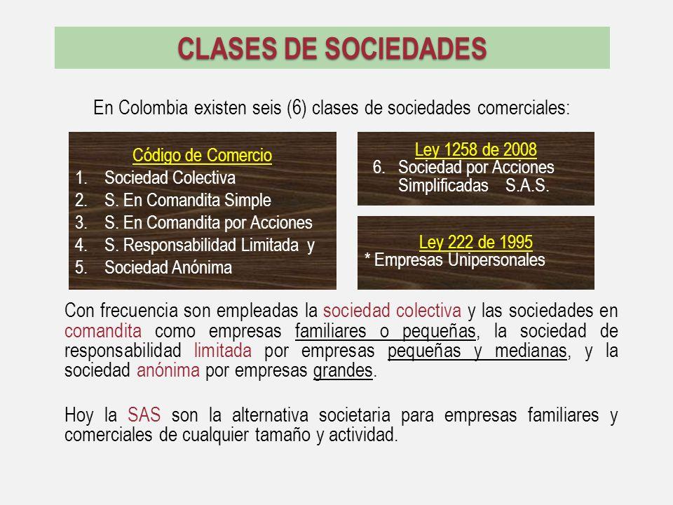 CLASES DE SOCIEDADES En Colombia existen seis (6) clases de sociedades comerciales: Con frecuencia son empleadas la sociedad colectiva y las sociedade