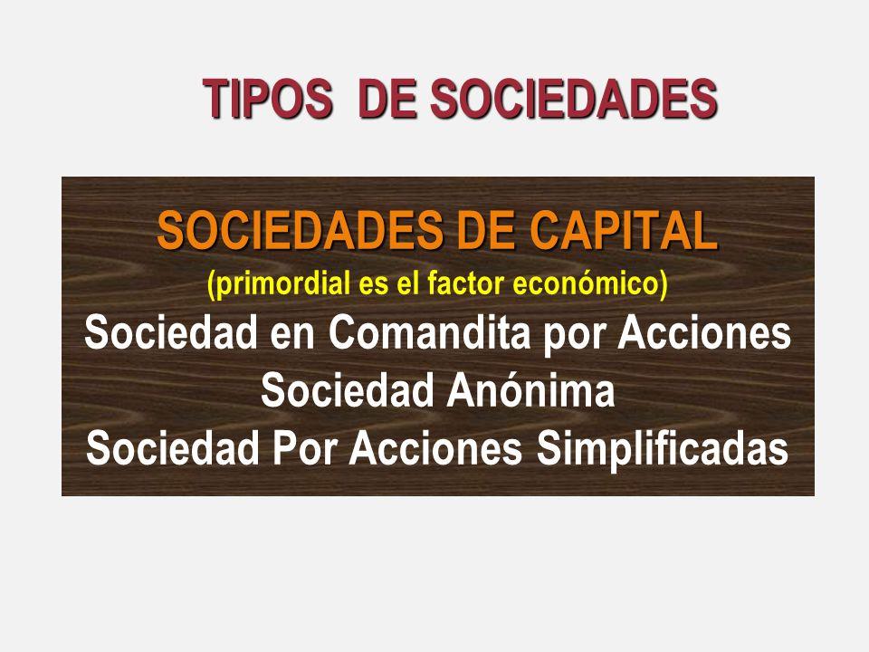 SOCIEDADES DE CAPITAL (primordial es el factor económico) Sociedad en Comandita por Acciones Sociedad Anónima Sociedad Por Acciones Simplificadas TIPO