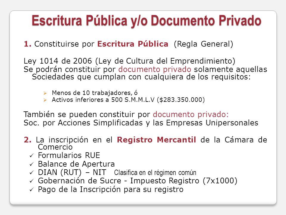 Escritura Pública y/o Documento Privado 1. Constituirse por Escritura Pública (Regla General) Ley 1014 de 2006 (Ley de Cultura del Emprendimiento) Se