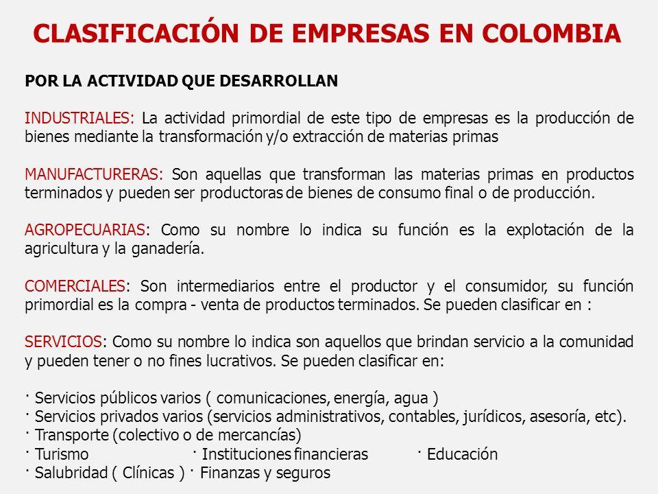 CLASIFICACIÓN DE EMPRESAS EN COLOMBIA POR LA ACTIVIDAD QUE DESARROLLAN INDUSTRIALES: La actividad primordial de este tipo de empresas es la producción