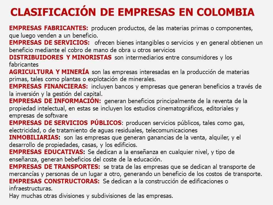 CLASIFICACIÓN DE EMPRESAS EN COLOMBIA EMPRESAS FABRICANTES: producen productos, de las materias primas o componentes, que luego venden a un beneficio.
