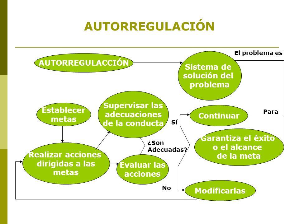 AUTORREGULACIÓN AUTORREGULACCIÓN Sistema de solución del problema Continuar Garantiza el éxito o el alcance de la meta Establecer metas Realizar accio