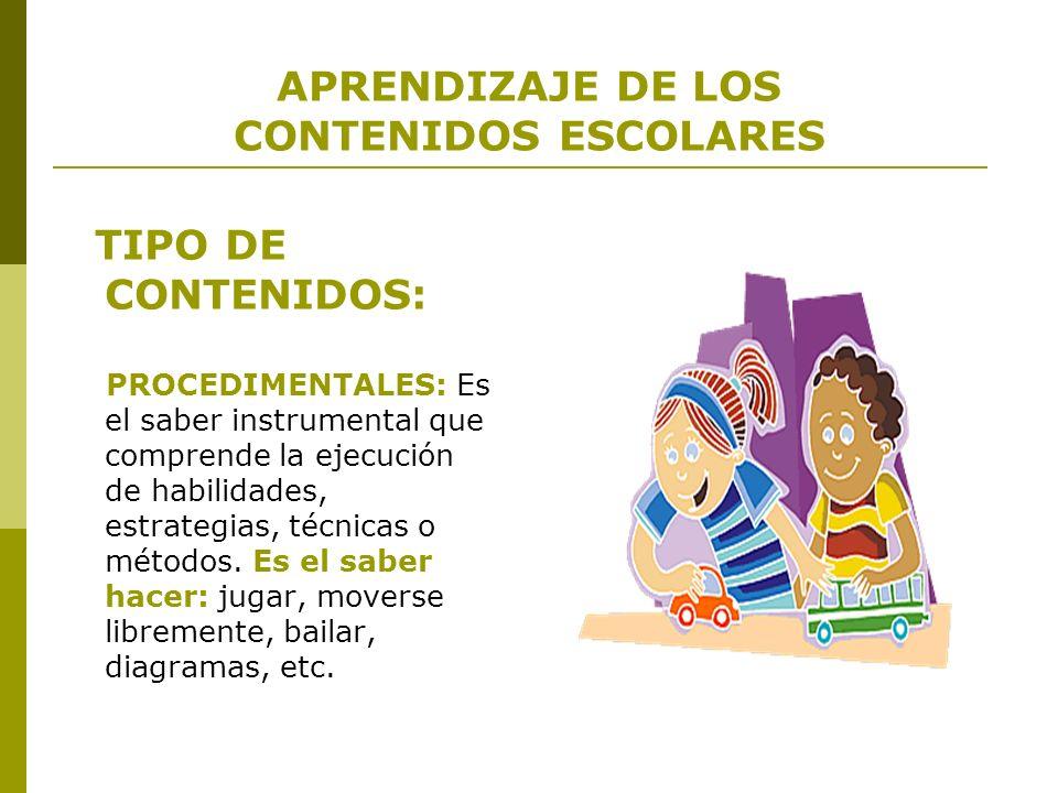 APRENDIZAJE DE LOS CONTENIDOS ESCOLARES TIPO DE CONTENIDOS: PROCEDIMENTALES: Es el saber instrumental que comprende la ejecución de habilidades, estra