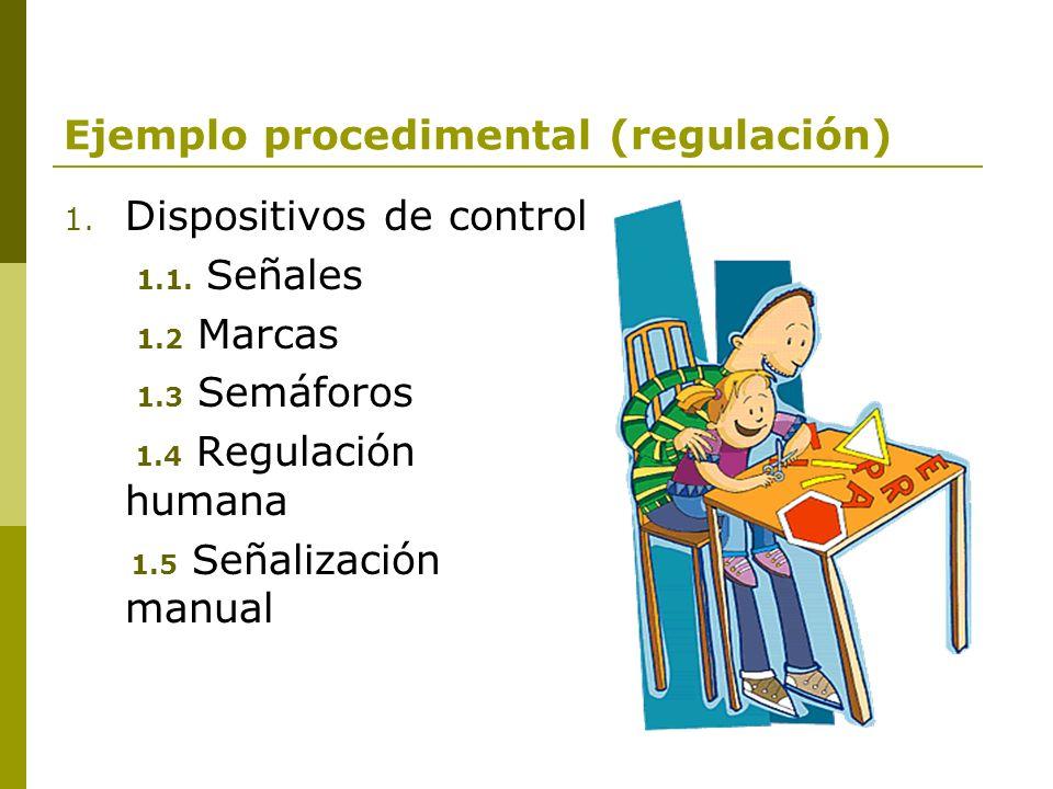 Ejemplo procedimental (regulación) 1. Dispositivos de control 1.1. Señales 1.2 Marcas 1.3 Semáforos 1.4 Regulación humana 1.5 Señalización manual