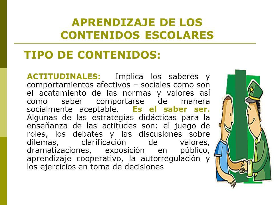 APRENDIZAJE DE LOS CONTENIDOS ESCOLARES TIPO DE CONTENIDOS: ACTITUDINALES: Implica los saberes y comportamientos afectivos – sociales como son el acat