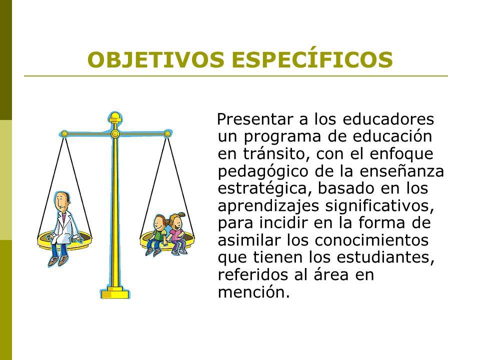 OBJETIVOS ESPECÍFICOS Presentar a los educadores un programa de educación en tránsito, con el enfoque pedagógico de la enseñanza estratégica, basado e