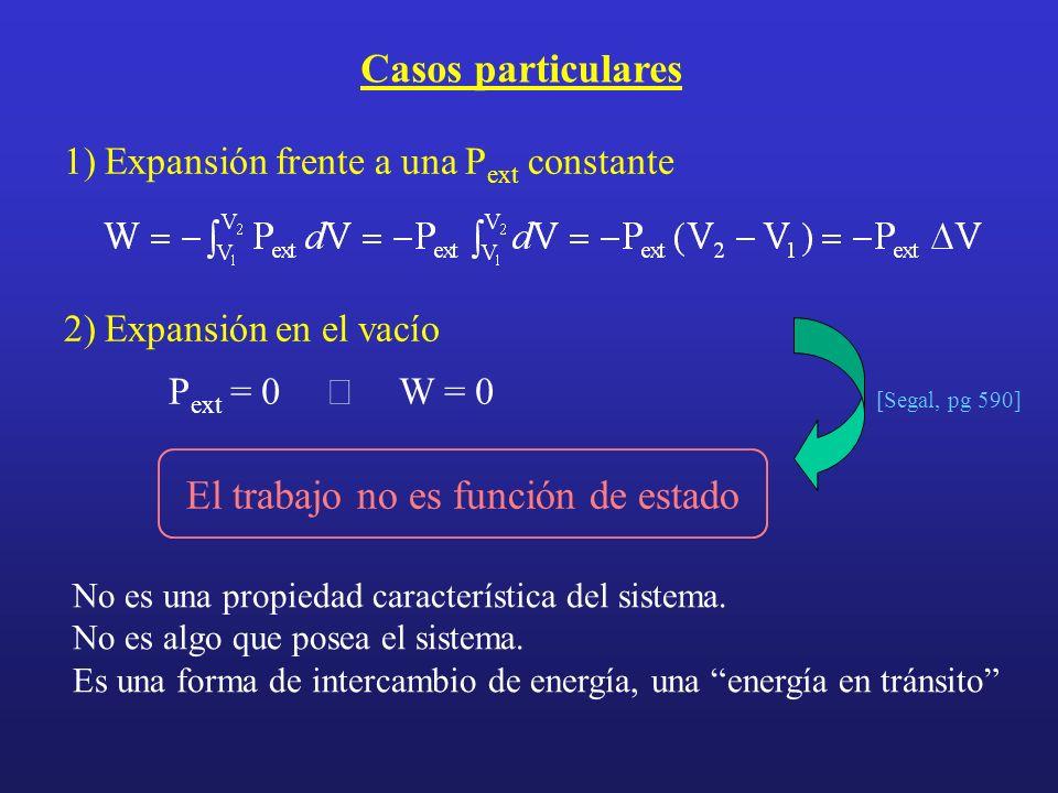 Casos particulares 1) Expansión frente a una P ext constante 2) Expansión en el vacío P ext = 0 W = 0 [Segal, pg 590] No es una propiedad característi