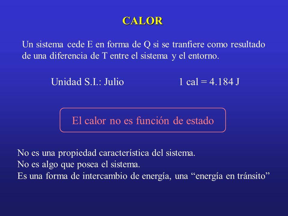 CALOR Un sistema cede E en forma de Q si se tranfiere como resultado de una diferencia de T entre el sistema y el entorno. Unidad S.I.: Julio1 cal = 4
