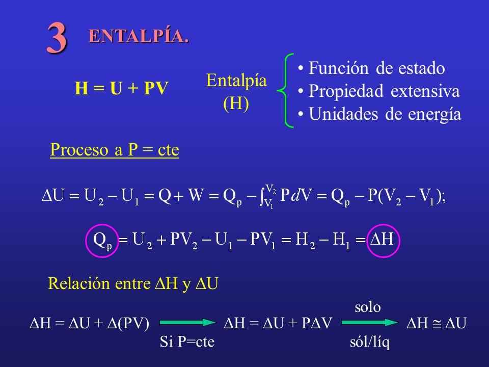 ENTALPÍA. 3 H = U + PV Entalpía (H) Función de estado Propiedad extensiva Unidades de energía Proceso a P = cte Relación entre H y U H = U + (PV) Si P