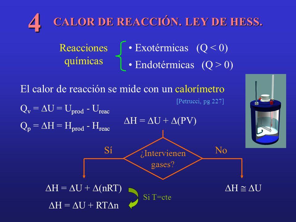 CALOR DE REACCIÓN. LEY DE HESS. 4 Reacciones químicas Exotérmicas (Q < 0) Endotérmicas (Q > 0) El calor de reacción se mide con un calorímetro [Petruc