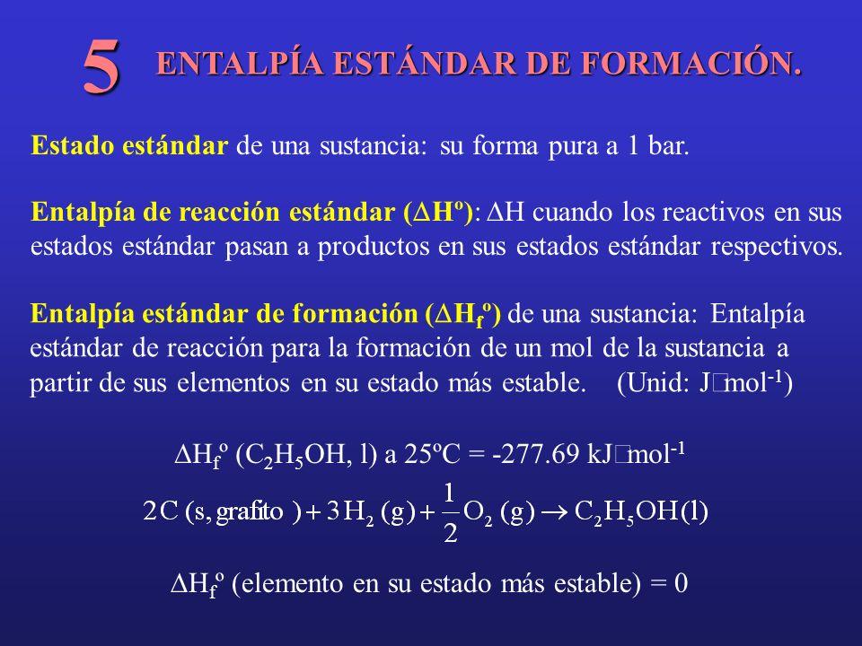 ENTALPÍA ESTÁNDAR DE FORMACIÓN. 5 Estado estándar de una sustancia: su forma pura a 1 bar. Entalpía de reacción estándar ( Hº): H cuando los reactivos