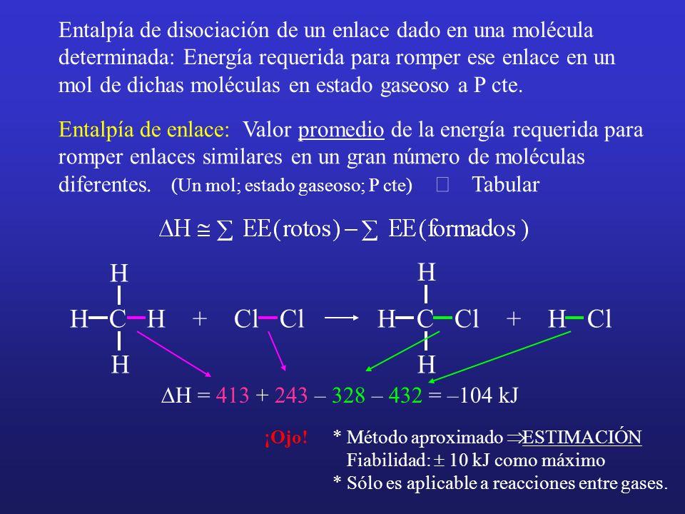 Entalpía de disociación de un enlace dado en una molécula determinada: Energía requerida para romper ese enlace en un mol de dichas moléculas en estad