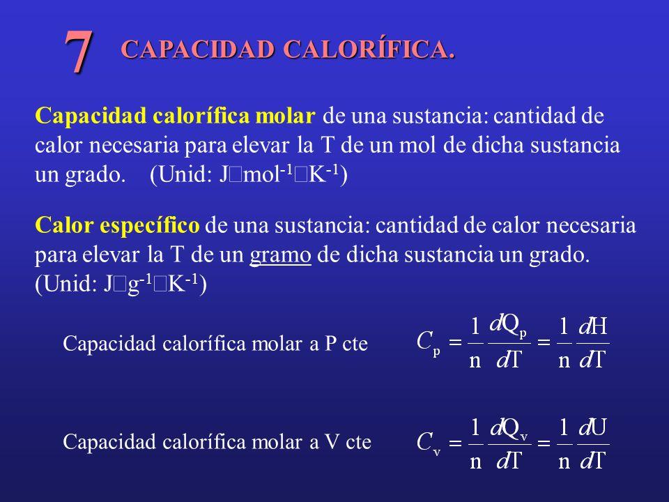 CAPACIDAD CALORÍFICA. 7 Capacidad calorífica molar de una sustancia: cantidad de calor necesaria para elevar la T de un mol de dicha sustancia un grad
