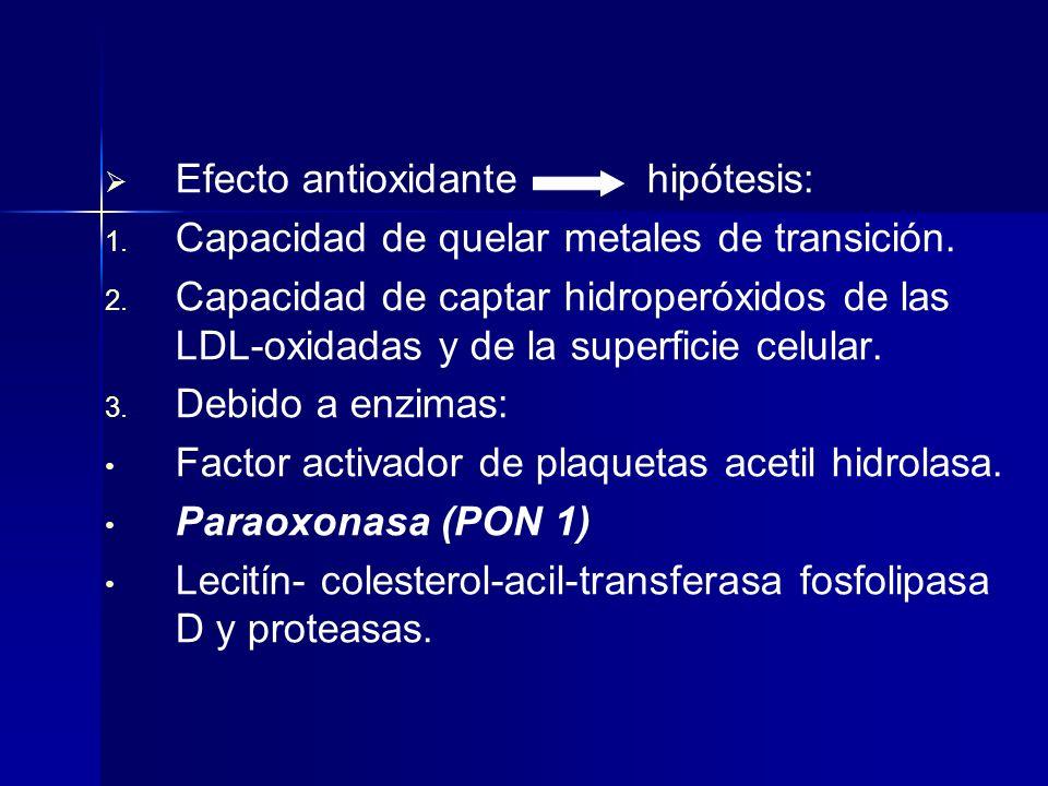 Efecto antioxidante hipótesis: 1. 1. Capacidad de quelar metales de transición. 2. 2. Capacidad de captar hidroperóxidos de las LDL-oxidadas y de la s