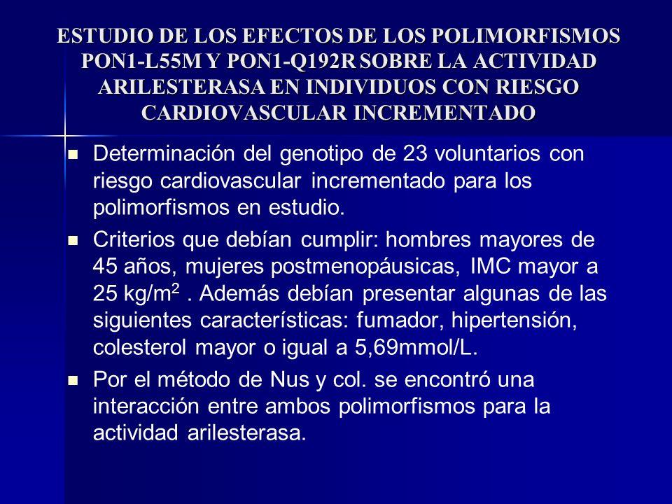 ESTUDIO DE LOS EFECTOS DE LOS POLIMORFISMOS PON1-L55M Y PON1-Q192R SOBRE LA ACTIVIDAD ARILESTERASA EN INDIVIDUOS CON RIESGO CARDIOVASCULAR INCREMENTAD