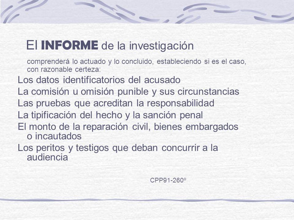 El INFORME de la investigación comprenderá lo actuado y lo concluido, estableciendo si es el caso, con razonable certeza: Los datos identificatorios d