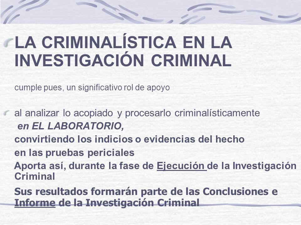 LA CRIMINALÍSTICA EN LA INVESTIGACIÓN CRIMINAL cumple pues, un significativo rol de apoyo al analizar lo acopiado y procesarlo criminalísticamente en