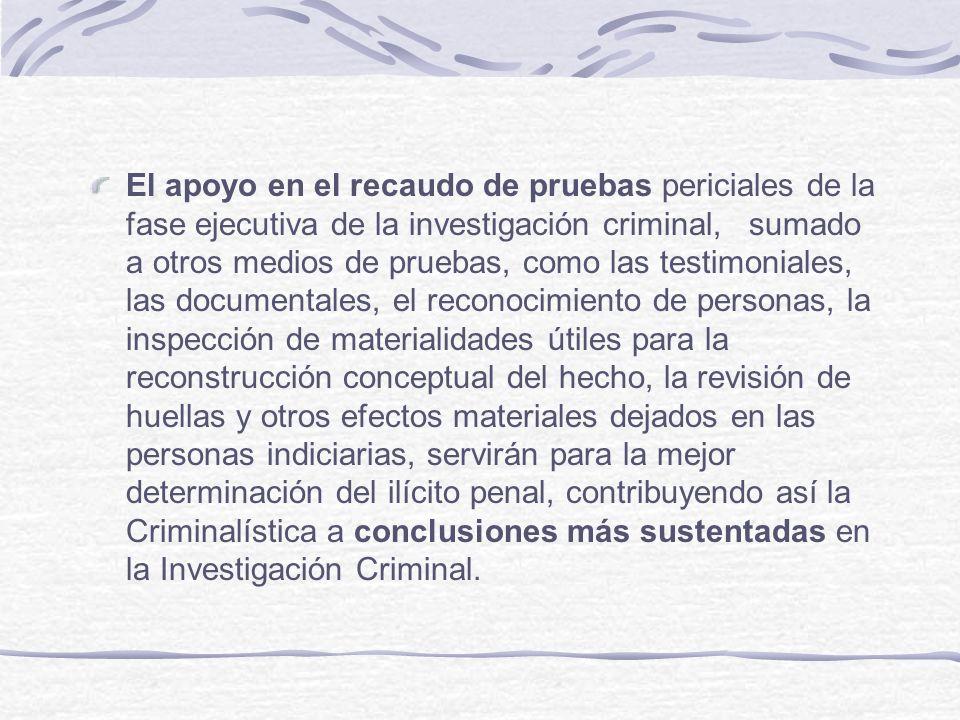 El apoyo en el recaudo de pruebas periciales de la fase ejecutiva de la investigación criminal, sumado a otros medios de pruebas, como las testimonial