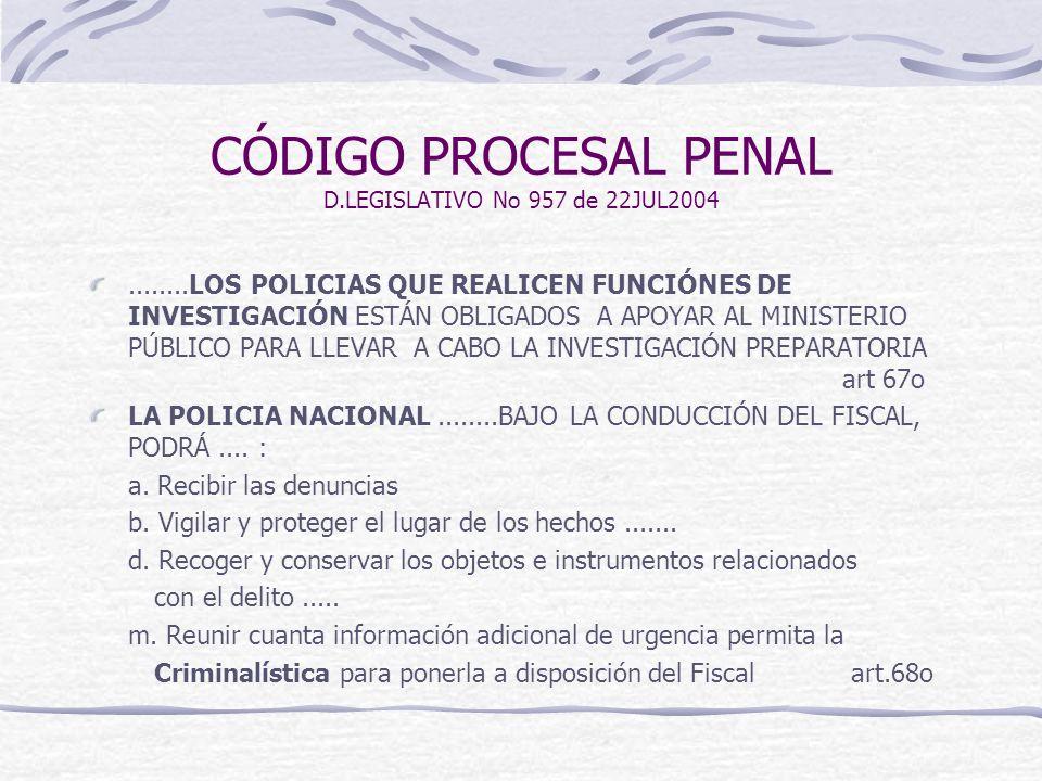 CÓDIGO PROCESAL PENAL D.LEGISLATIVO No 957 de 22JUL2004........LOS POLICIAS QUE REALICEN FUNCIÓNES DE INVESTIGACIÓN ESTÁN OBLIGADOS A APOYAR AL MINIST