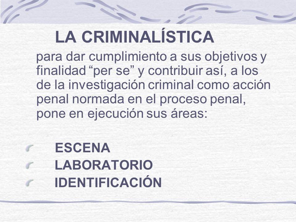 LA CRIMINALÍSTICA para dar cumplimiento a sus objetivos y finalidad per se y contribuir así, a los de la investigación criminal como acción penal norm