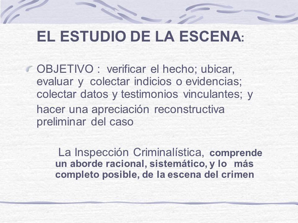 EL ESTUDIO DE LA ESCENA : OBJETIVO : verificar el hecho; ubicar, evaluar y colectar indicios o evidencias; colectar datos y testimonios vinculantes; y