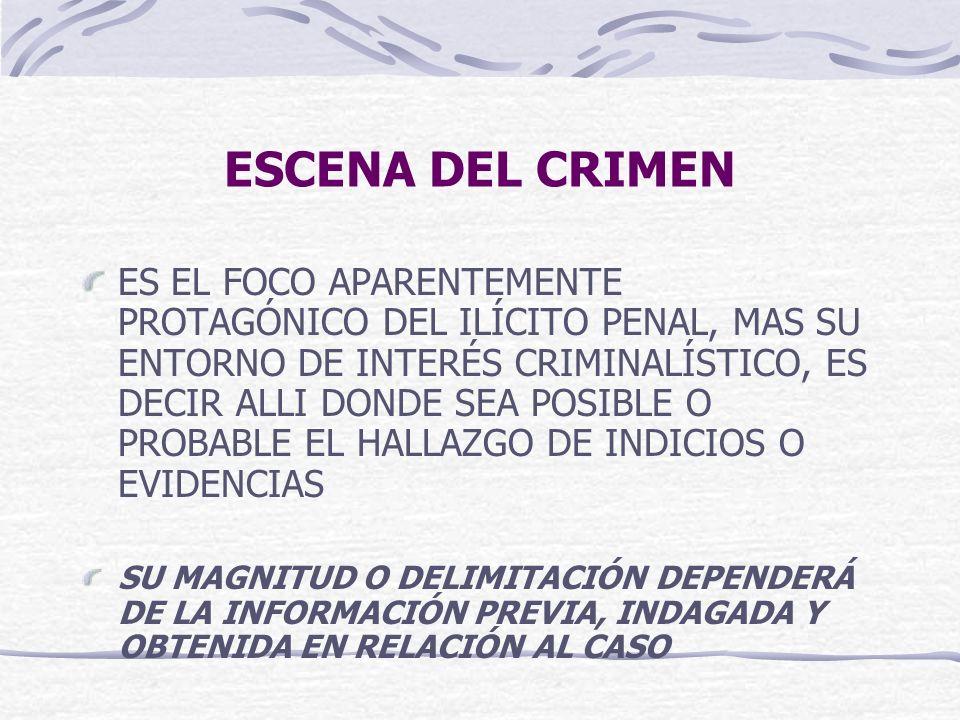 ESCENA DEL CRIMEN ES EL FOCO APARENTEMENTE PROTAGÓNICO DEL ILÍCITO PENAL, MAS SU ENTORNO DE INTERÉS CRIMINALÍSTICO, ES DECIR ALLI DONDE SEA POSIBLE O