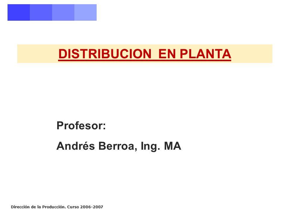 Dirección de la Producción. Curso 2006-2007 DISTRIBUCION EN PLANTA Profesor: Andrés Berroa, Ing. MA