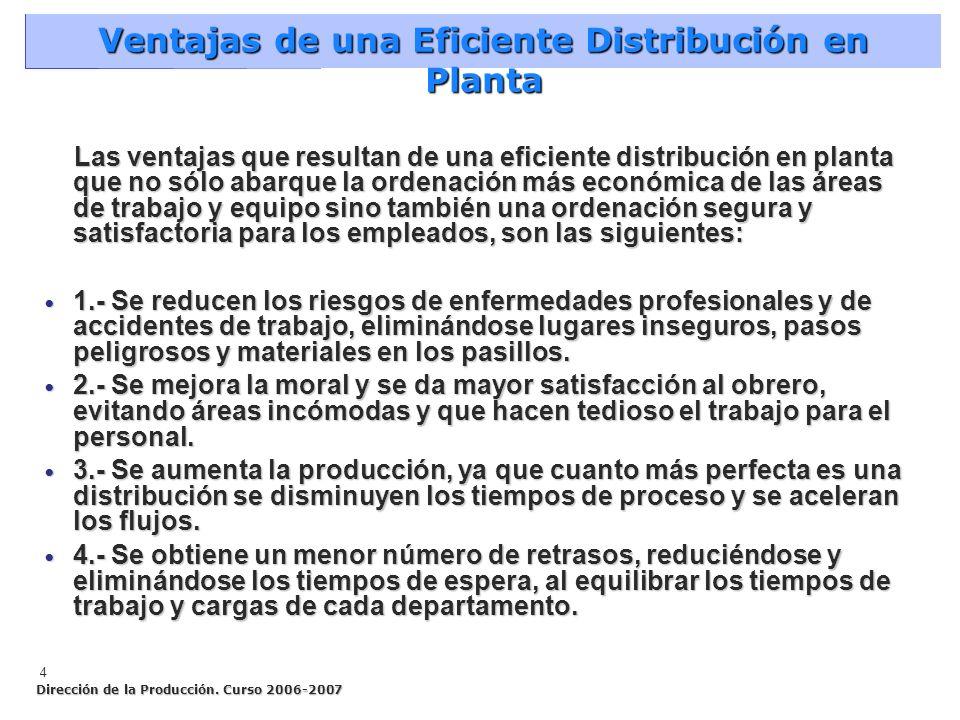 Ventajas de una Eficiente Distribución en Planta 4 Las ventajas que resultan de una eficiente distribución en planta que no sólo abarque la ordenación