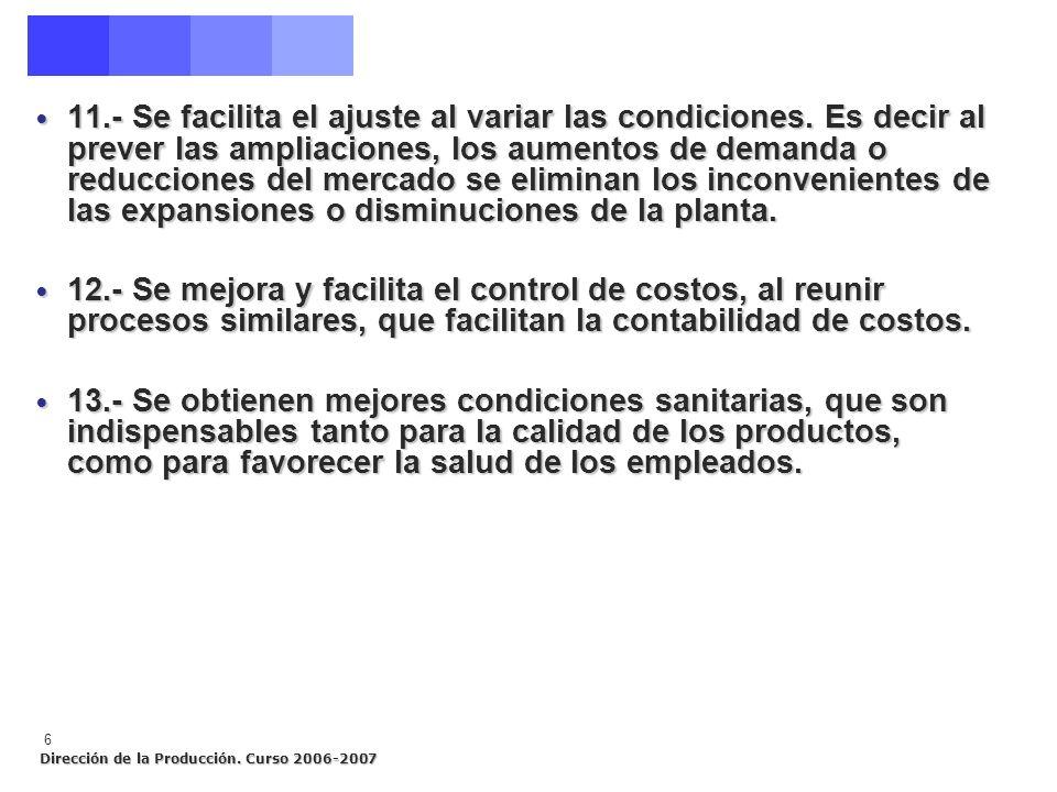 Dirección de la Producción. Curso 2006-2007 6 11.- Se facilita el ajuste al variar las condiciones. Es decir al prever las ampliaciones, los aumentos
