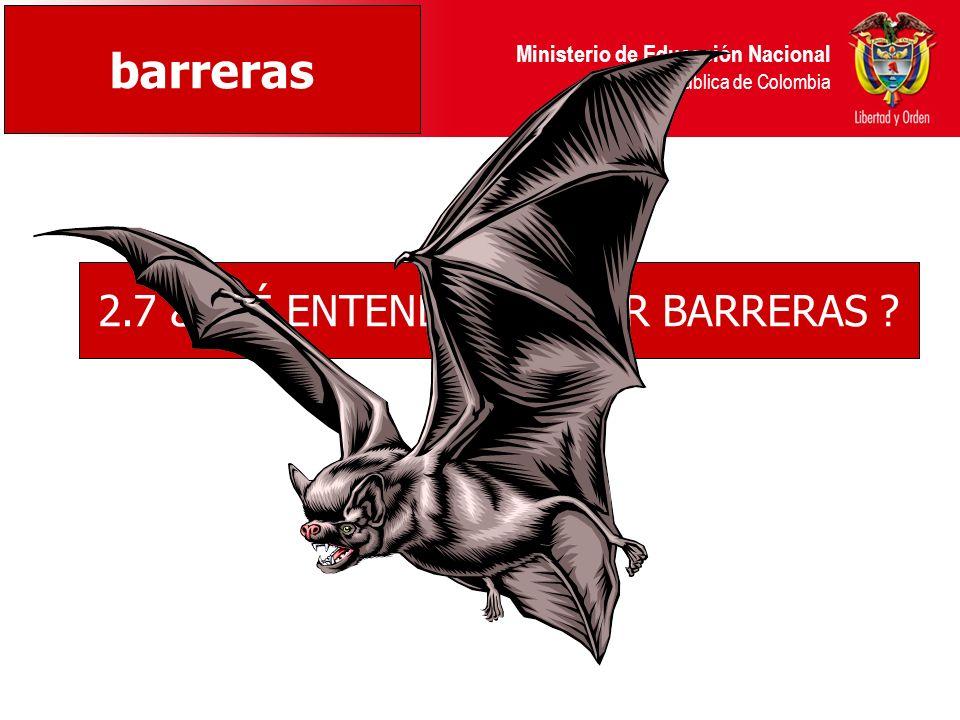 Ministerio de Educación Nacional República de Colombia 2.7 ¿QUÉ ENTENDEMOS POR BARRERAS ? barreras
