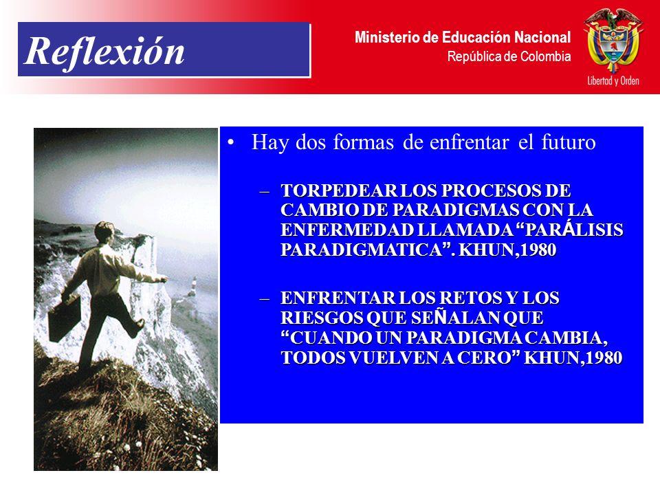 Ministerio de Educación Nacional República de Colombia Reflexión Hay dos formas de enfrentar el futuro: –TORPEDEAR LOS PROCESOS DE CAMBIO DE PARADIGMA