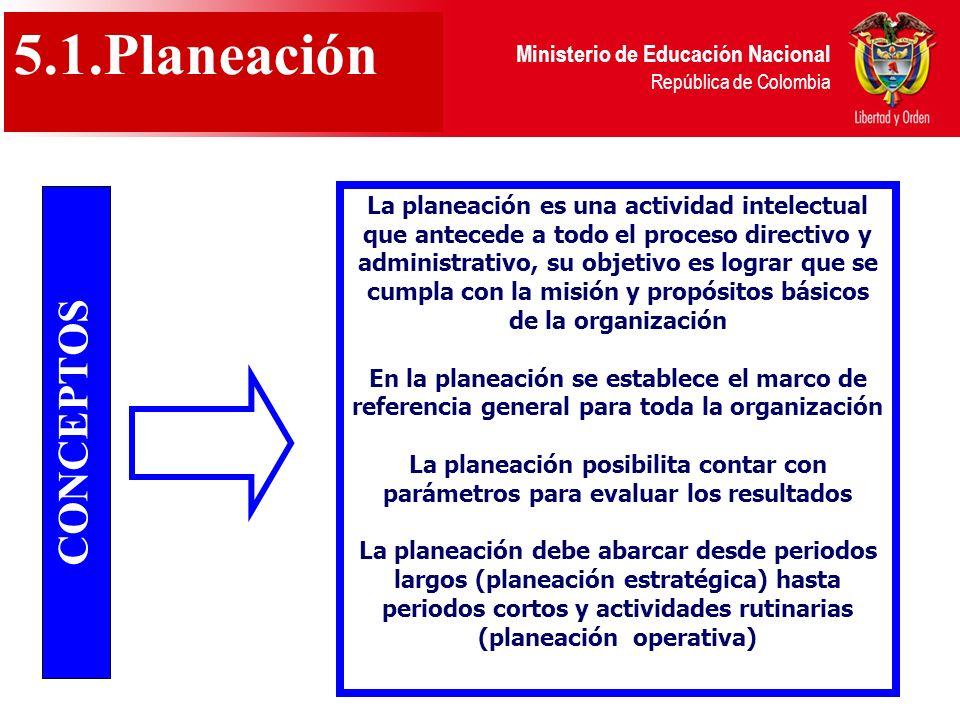 Ministerio de Educación Nacional República de Colombia 5.1.Planeación CONCEPTOS La planeación es una actividad intelectual que antecede a todo el proc