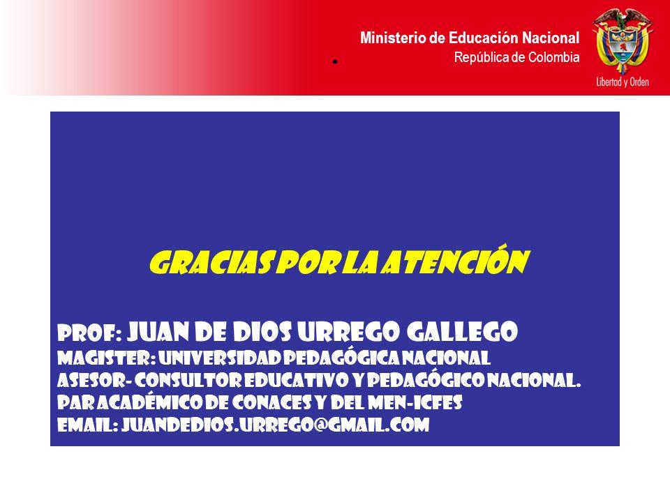 Ministerio de Educación Nacional República de Colombia. GRACIAS POR LA ATENCIÓN Prof: Juan de Dios Urrego Gallego Magister: Universidad Pedagógica Nac