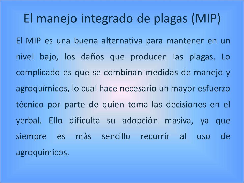 El manejo integrado de plagas (MIP) El MIP es una buena alternativa para mantener en un nivel bajo, los daños que producen las plagas. Lo complicado e