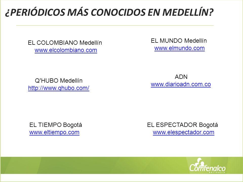 ¿PERIÓDICOS MÁS CONOCIDOS EN MEDELLÍN? ADN www.diarioadn.com.co EL COLOMBIANO Medellín www.elcolombiano.com EL MUNDO Medellín www.elmundo.com Q'HUBO M