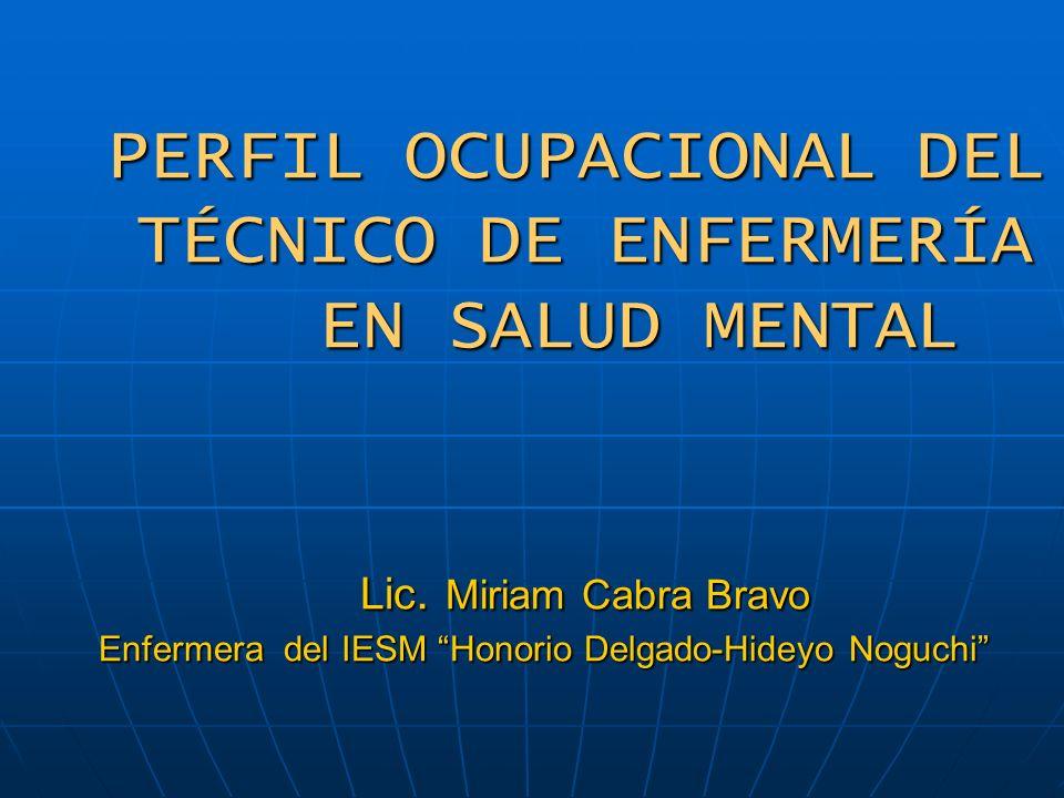 PERFIL OCUPACIONAL DEL TÉCNICO DE ENFERMERÍA EN SALUD MENTAL Lic. Miriam Cabra Bravo Enfermera del IESM Honorio Delgado-Hideyo Noguchi PERFIL OCUPACIO