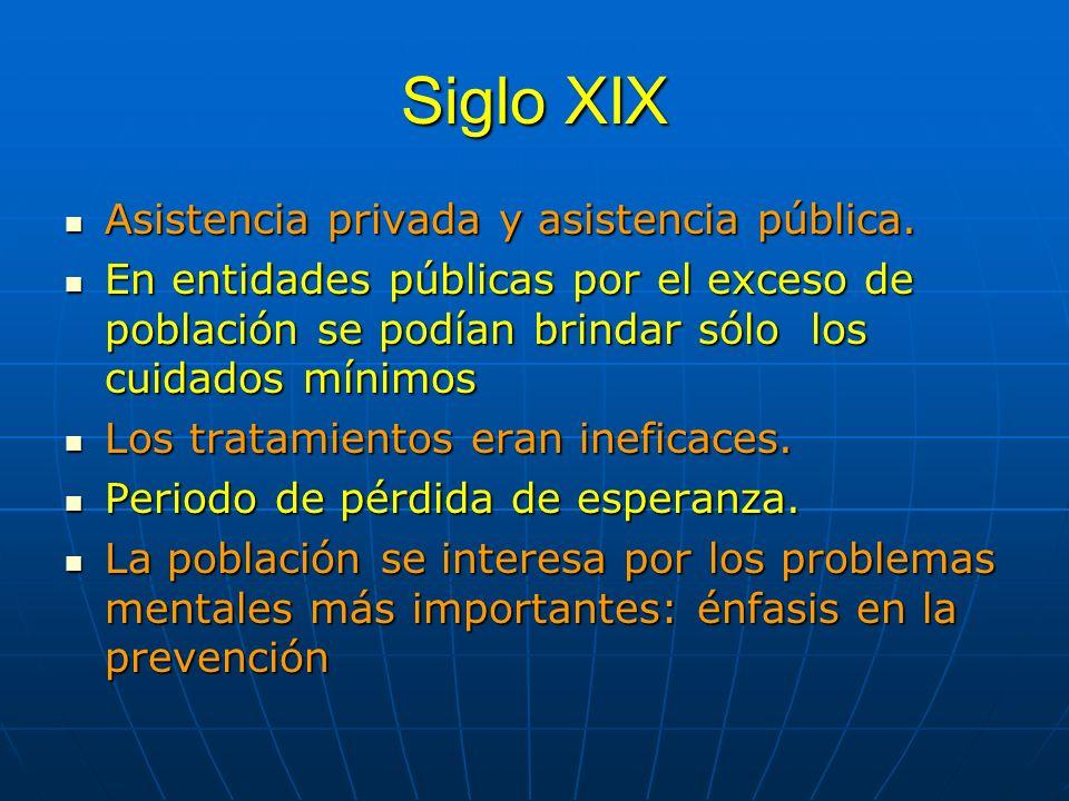 Siglo XIX Asistencia privada y asistencia pública. Asistencia privada y asistencia pública. En entidades públicas por el exceso de población se podían