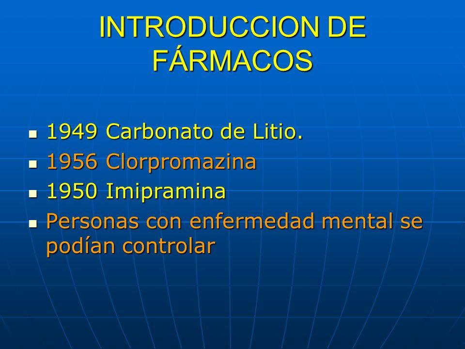 INTRODUCCION DE FÁRMACOS 1949 Carbonato de Litio. 1949 Carbonato de Litio. 1956 Clorpromazina 1956 Clorpromazina 1950 Imipramina 1950 Imipramina Perso