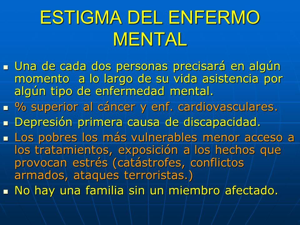 ESTIGMA DEL ENFERMO MENTAL Una de cada dos personas precisará en algún momento a lo largo de su vida asistencia por algún tipo de enfermedad mental. U