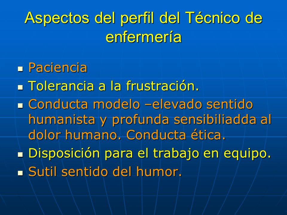 Aspectos del perfil del Técnico de enfermería Paciencia Paciencia Tolerancia a la frustración. Tolerancia a la frustración. Conducta modelo –elevado s