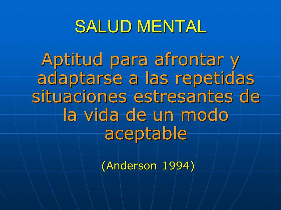 SALUD MENTAL Aptitud para afrontar y adaptarse a las repetidas situaciones estresantes de la vida de un modo aceptable (Anderson 1994)