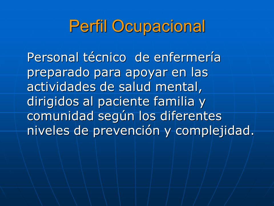 Perfil Ocupacional Personal técnico de enfermería preparado para apoyar en las actividades de salud mental, dirigidos al paciente familia y comunidad
