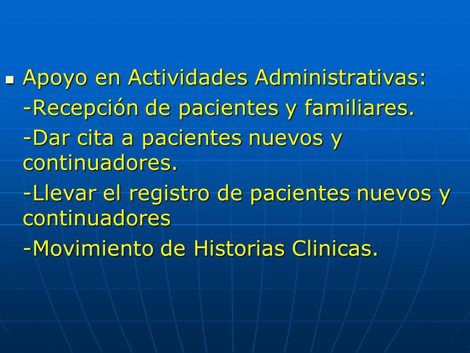 Apoyo en Actividades Administrativas: Apoyo en Actividades Administrativas: -Recepción de pacientes y familiares. -Dar cita a pacientes nuevos y conti